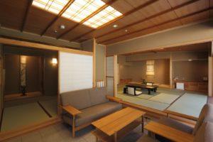 庭園露天風呂と石畳リビング・茶室付和室